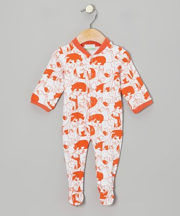Orange Zoo Animal Organic Footie - Infant
