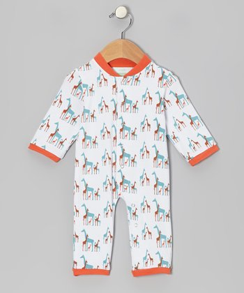 Orange Giraffe Organic Playsuit - Infant