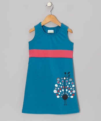 Teal Peacock Organic Shift Dress - Infant, Toddler & Girls