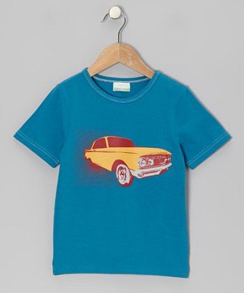 Teal Vintage Car Organic Tee - Toddler & Kids