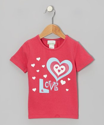 Pink 'Love' Organic Tee - Toddler & Girls