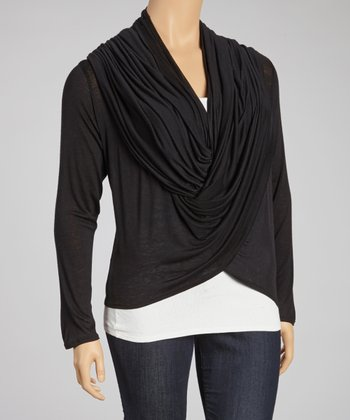 Black Sidetail Open Cardigan - Plus