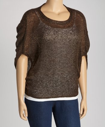 Brown & Gold Dolman Top - Plus