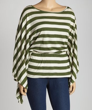 Green & White Stripe Sidetail Top - Plus