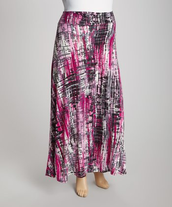 Magenta Abstract Maxi Skirt - Plus