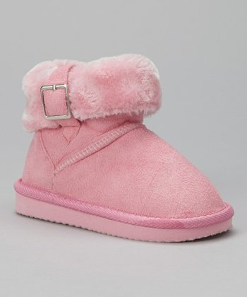 Light Pink Buckle Suede Boot