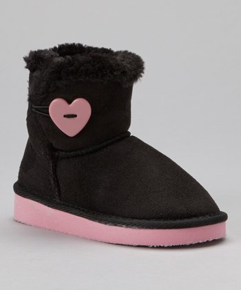 Black & Light Pink Short Heart Sueded Boot