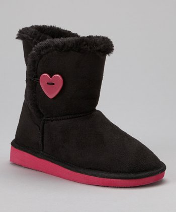 Black & Fuchsia Short Heart Sueded Boot