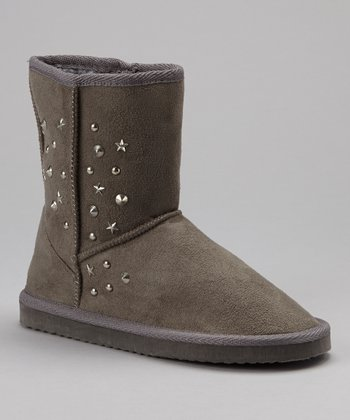 Gray Studded Suede Boot