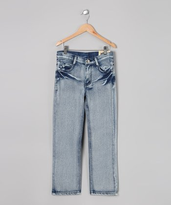 Blue Bleach-Wash Jeans - Toddler