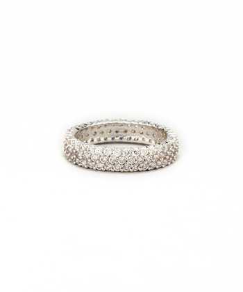 Silver Pavé Round-Cut Cubic Zirconia Eternity Ring
