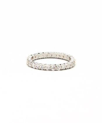 Silver Round-Cut Cubic Zirconia Eternity Ring