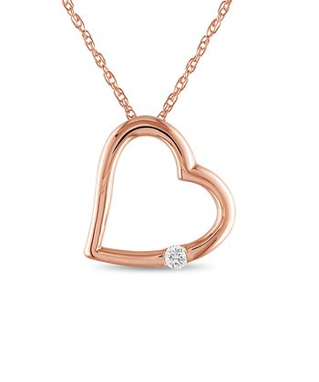 Rose Gold Heart Diamond Pendant Necklace