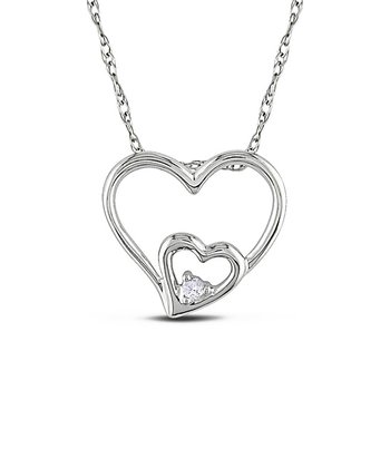 White Gold Heart Diamond Pendant Necklace