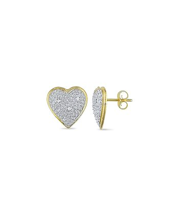 Gold Heart Diamond Stud Earrings