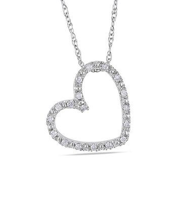 White Gold Heart Cut-Out Diamond Pendant Necklace