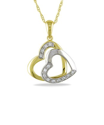 White & Yellow Gold Heart Diamond Pendant Necklace