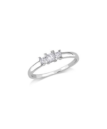 White Gold 3-Stone Princess Cut Diamond Ring
