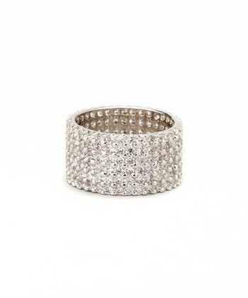 Cubic Zirconia & White Gold Pave Stacked Ring