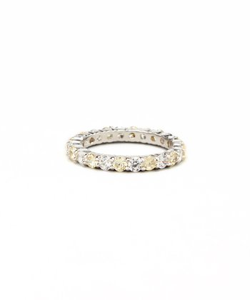 Jonquil Cubic Zirconia & White Gold Eternity Band Ring
