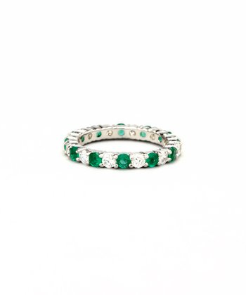 Emerald & White Gold Prong-Set Ring