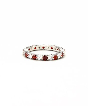 Ruby & White Gold Prong-Set Eternity Band Ring