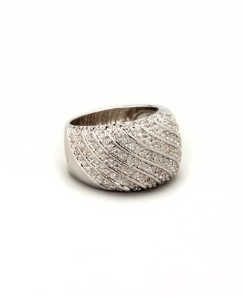 Clear Cubic Zirconia & White Gold Diagonal Ring