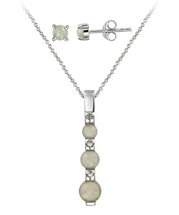 White Lab-Created Opal & Sterling Silver Necklace & Earrings