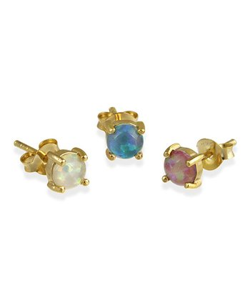 Lab-Created Opal & Gold Stud Earrings Set