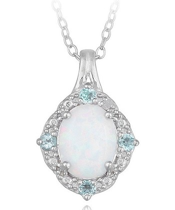 Blue Topaz & Silver Lab-Created Opal Pendant Necklace