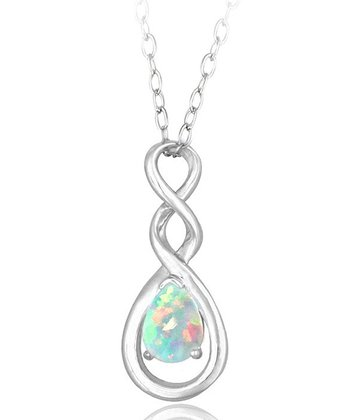 Lab-Created Opal & Sterling Silver Twist Teardrop Necklace