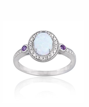 Amethyst & Lab-Created Opal Oval Ring