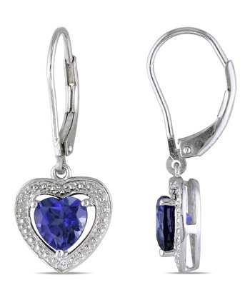 Sapphire & Diamond Heart Drop Earrings
