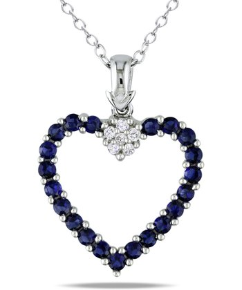 Sapphire & Diamond Open Heart Pendant Necklace