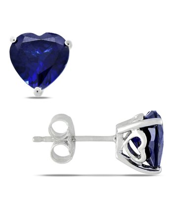 Sapphire Heart Stud Earrings