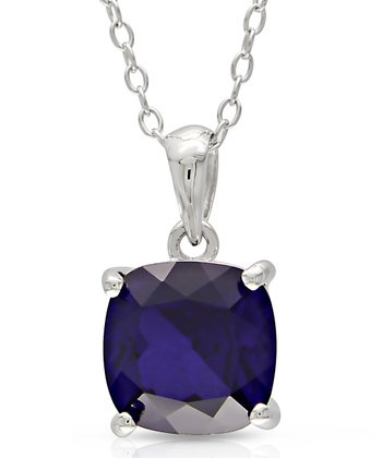Sapphire & Silver 8-mm Cushion Solitaire Pendant Necklace