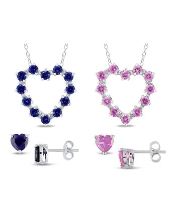 Sapphire & Silver Heart Pendant Necklace & Stud Earrings Set
