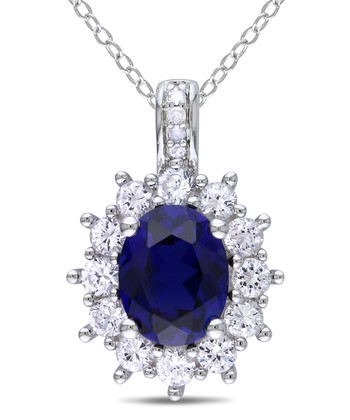 Sapphire & Diamond Fancy Oval Pendant Necklace