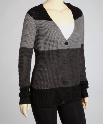 Black Stripe Cardigan - Plus