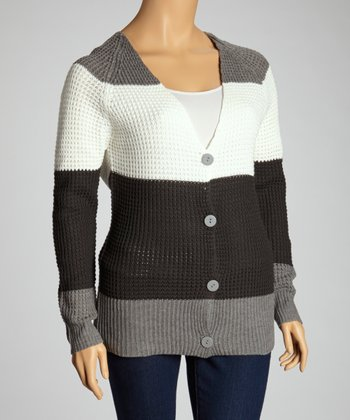 Heather Gray Stripe Cardigan - Plus