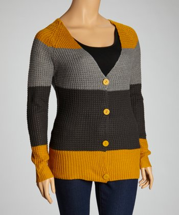 Mustard Stripe Cardigan - Plus