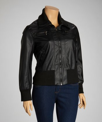 Black Zipper Jacket - Plus