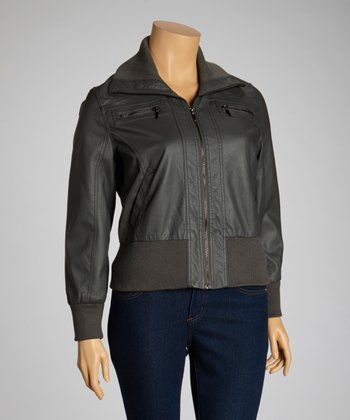 Charcoal Zipper Jacket - Plus