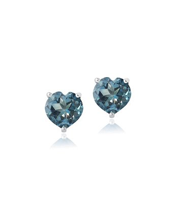 London Blue Topaz & Sterling Silver Heart Stud Earrings