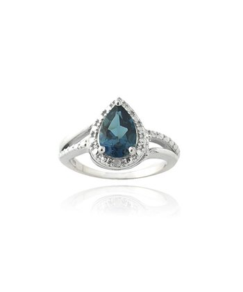 London Blue Topaz & Sterling Silver Diamond Ring