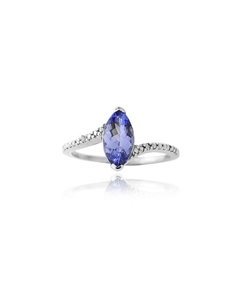 Tanzanite, Diamond & Sterling Silver Marquise Ring