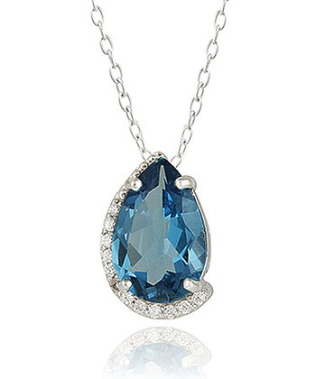 London Blue Topaz & Sterling Silver Wrapped Pear Pendant Necklace