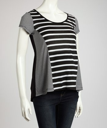 Black & White Stripe Maternity Short-Sleeve Top - Women
