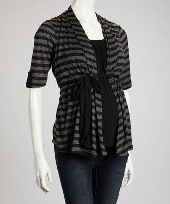 Black & Charcoal Stripe Maternity Layered Top