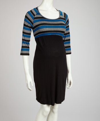 Blue & Black Stripe Maternity Dress - Women